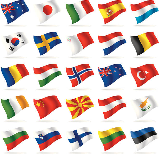 stockillustraties, clipart, cartoons en iconen met set of world flags 2 - zuid europa