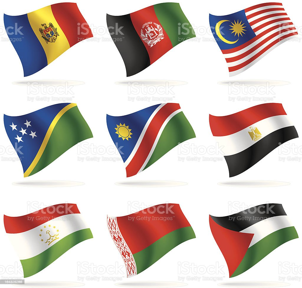 Set of world flags 6 royalty-free stock vector art