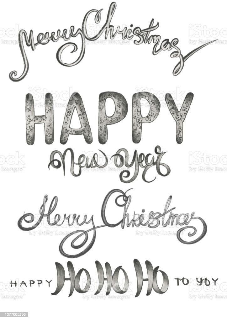 Weihnachten Wörter.Reihe Von Schriften Neues Jahr Und Frohe Weihnachten Wörter In
