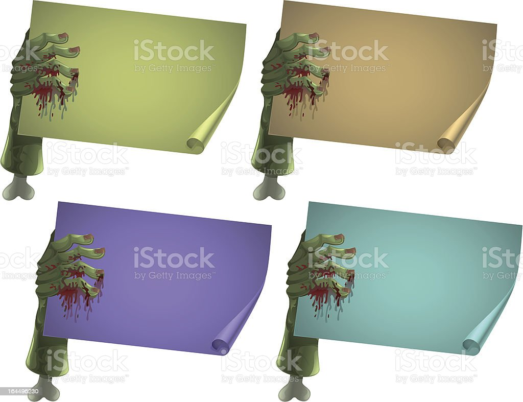set of zombie hands vector art illustration