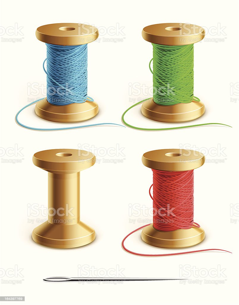 set reel with thread and needle royalty-free stock vector art