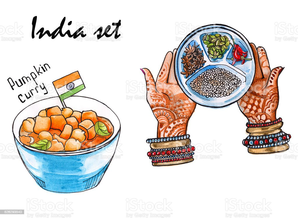 Set sketches of indian food isolated watercolor stock for Art of indian cuisine