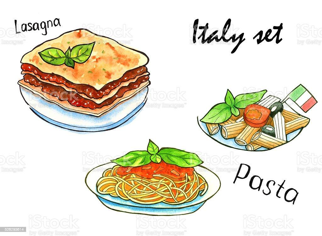 Impostare Disegni Di Cucina Italiana Italiano Mediterranea L Isolato ...