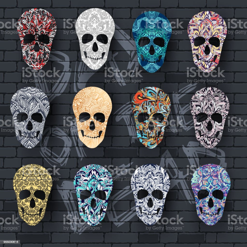 Set Skull For The Illustrations Concept On Day Of The Dead Vector