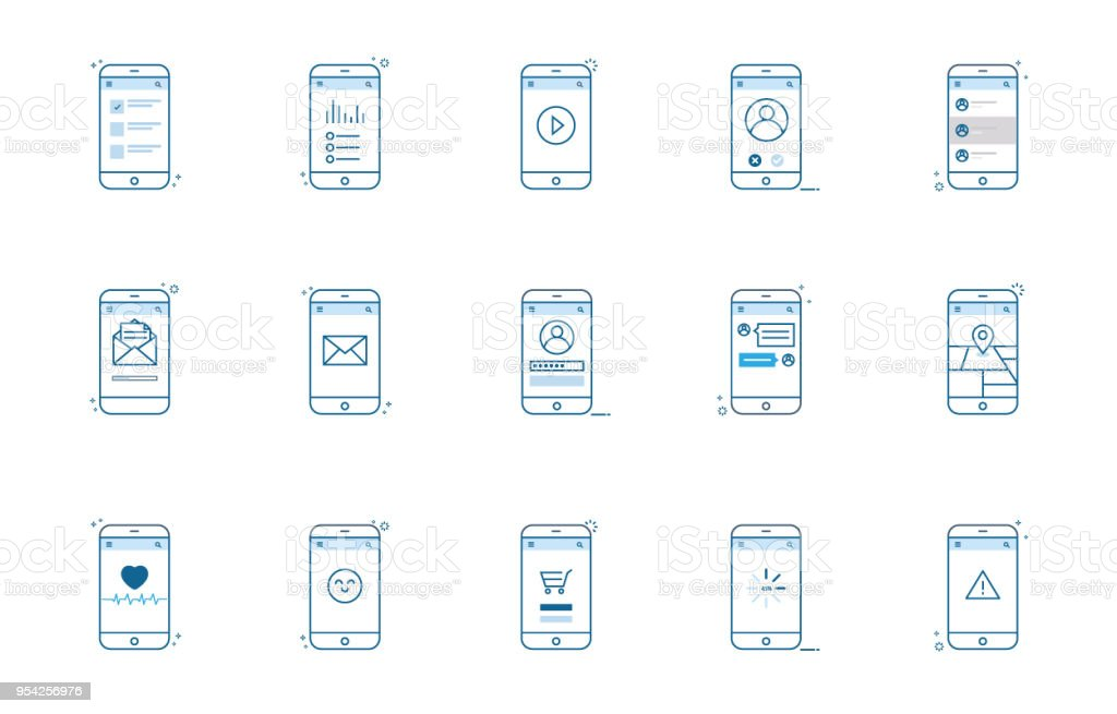 Set smartphone app outline style. Minimal vector illustration vector art illustration