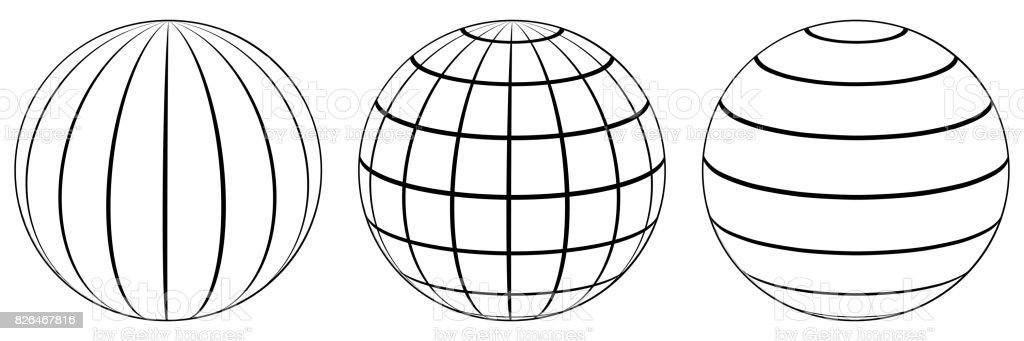 Legen Sie Kugeln Globus Erde Raster Breiten Und Längengrad Stock ...