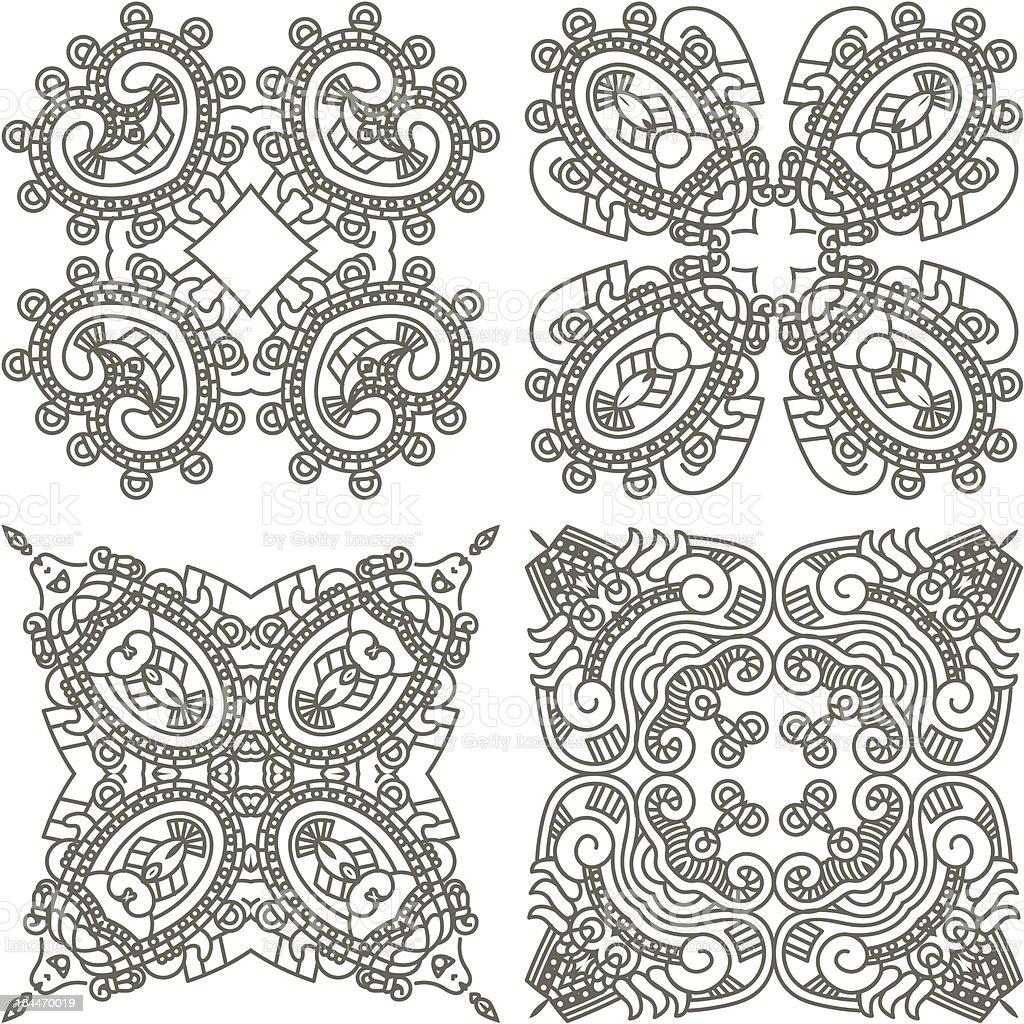Set Stylized Aztec ornaments royalty-free stock vector art