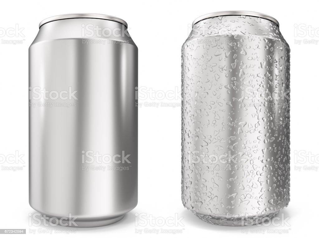 Ingesteld, water druppels op aluminium blikjes, realistische 3d rendering geïsoleerd op witte achtergrondvectorkunst illustratie