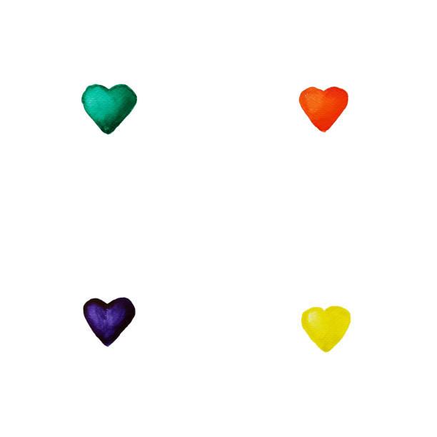 illustrazioni stock, clip art, cartoni animati e icone di tendenza di set with 4 watercolor hearts - emerald, purple, red orange, yellow. hand draw illustration background - tetrade