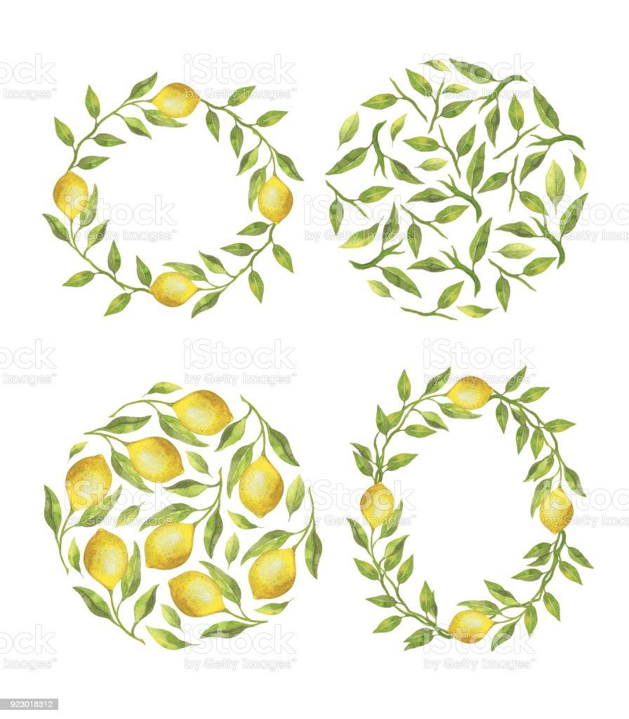Ilustración de Conjunto Con Limones Y Guirnaldas De Hojas Verdes Y ...