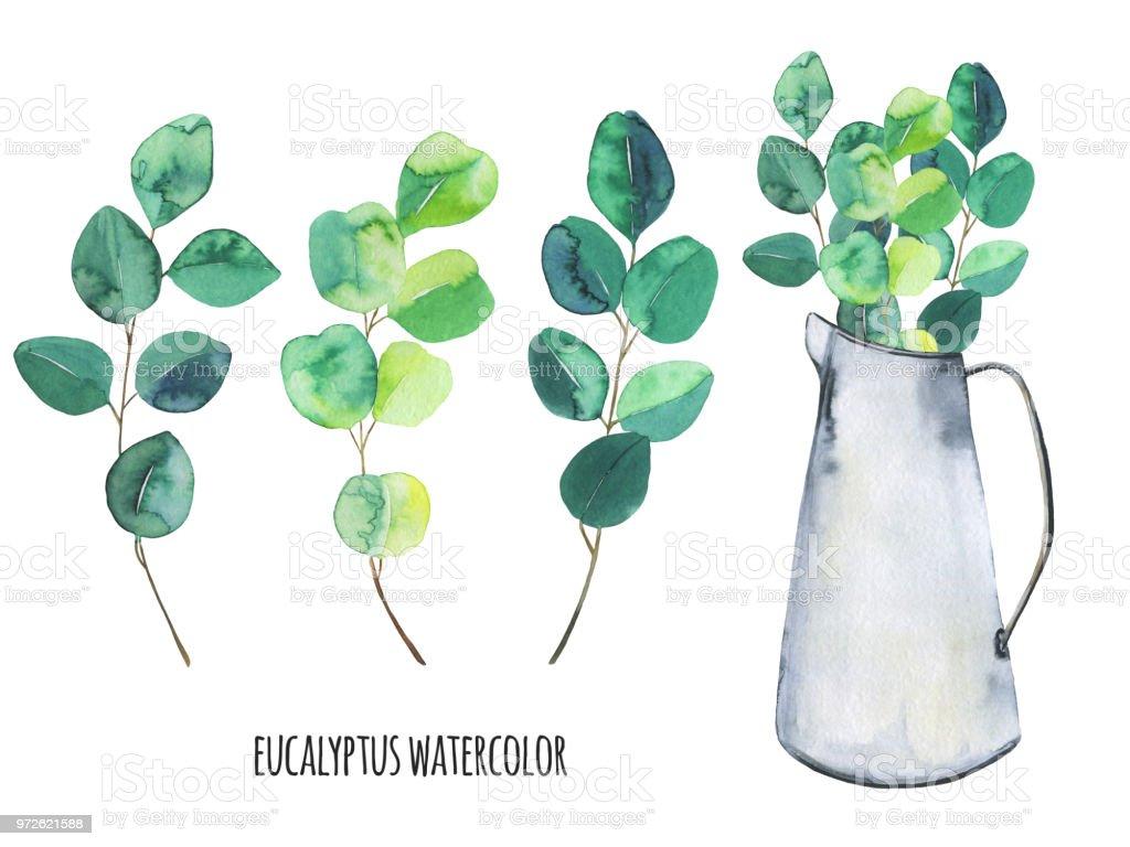 sertie de métal bouquet pot et deucalyptus branches deucalyptus