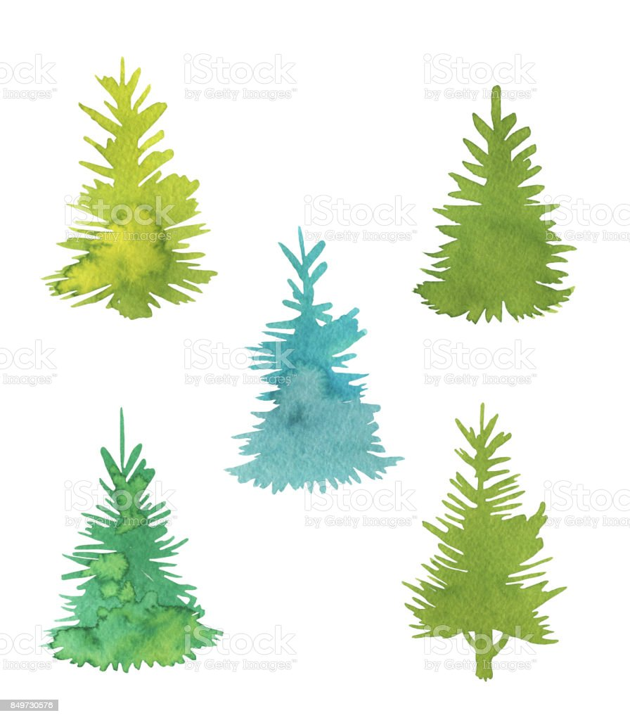 Set With Minimalist Christmas Trees Isolated On White Background Stock Illustration Download Image Now Istock