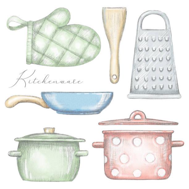 bildbanksillustrationer, clip art samt tecknat material och ikoner med set med krukor, pan, grillvante, spatel och rivjärn - frying pan