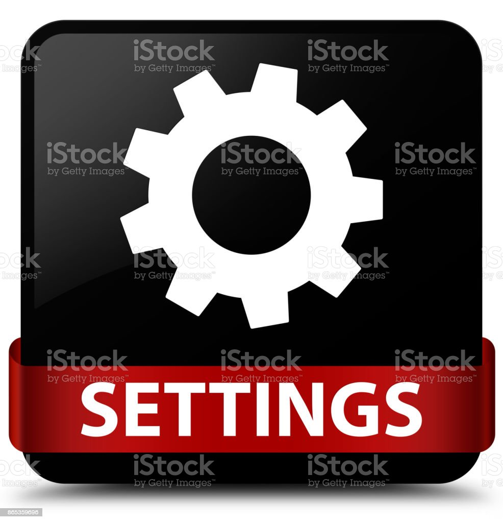 Settings Black Square Button Red Ribbon In Middle Stock Illustration Download Image Now Istock
