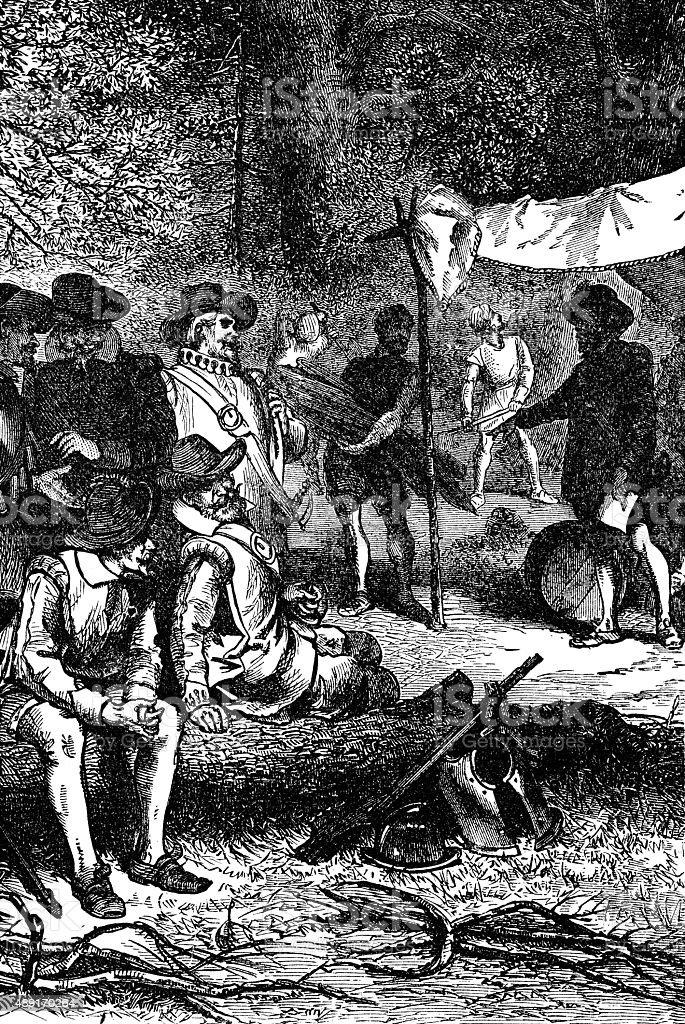 Settlers at Jamestown vector art illustration