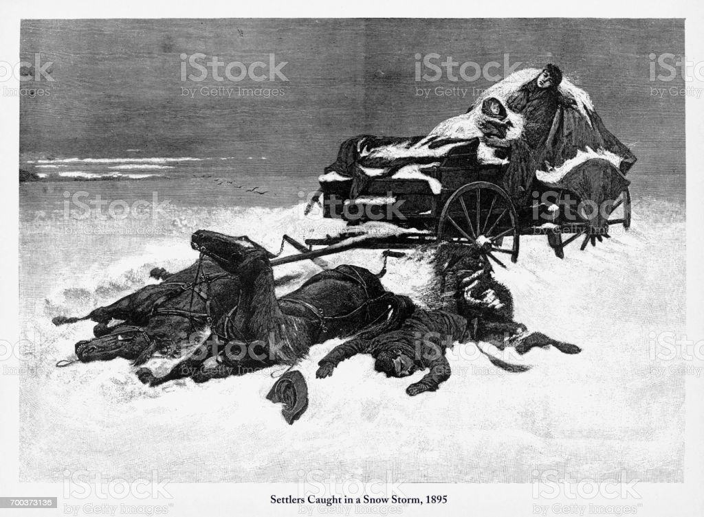Settlers Caught in a Snow Storm, Early American Engraving, 1895 vector art illustration