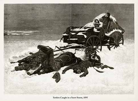 Beautifully Illustrated Antique Engraved Victorian Illustration of Early American Settlers Caught in a Snow Storm Engraving, 1895. Source: Original edition from my own archives. Copyright has expired on this artwork. Digitally restored.