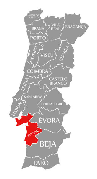 ilustrações de stock, clip art, desenhos animados e ícones de setubal red highlighted in map of portugal - setubal