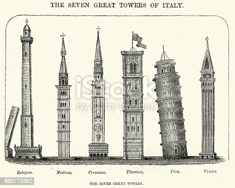 Vintage engraving of the Seven Great Towers of Italy. Bologna, Modena, Cremona, Florance, Pisa and Venice. The Leisure Hour, 1872