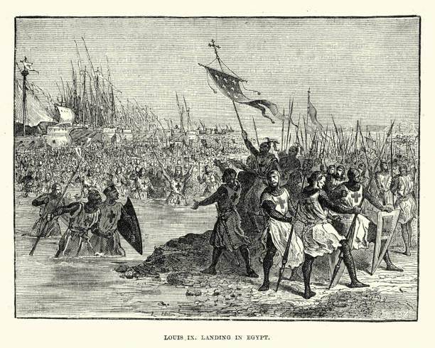 seventh crusade, louis ix landing in egypt - st louis stock illustrations