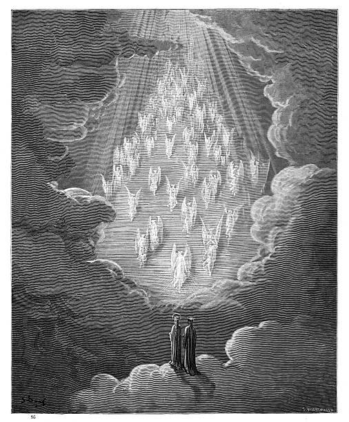 illustrazioni stock, clip art, cartoni animati e icone di tendenza di seventh sphere saturn paradiso 1870 - dante alighieri