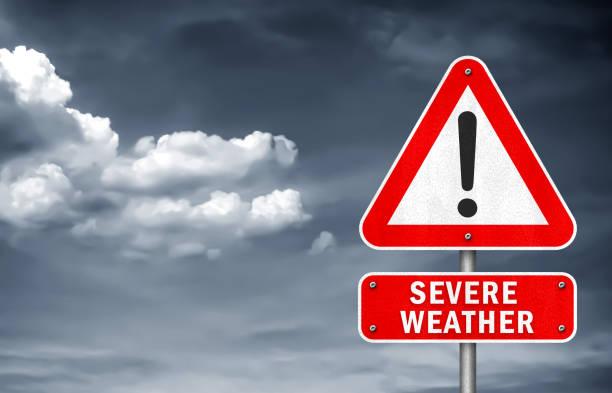 Severe Weather - road sign warning Severe Weather - road sign warning extreme weather stock illustrations