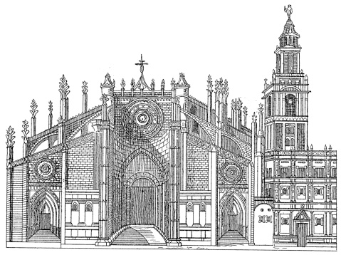 Seville Cathedral, Spain   Antique Architectural Illustrations