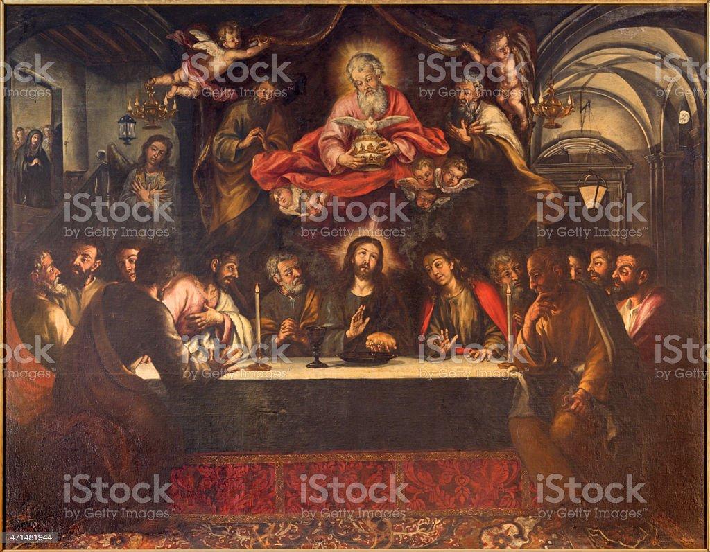 Seville - paint of Last supper in los Venerables church vector art illustration
