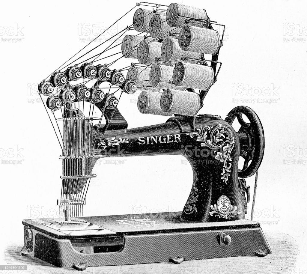 Ilustración de Máquina De Coser De Singer Modelo 12 Agujas y más ...