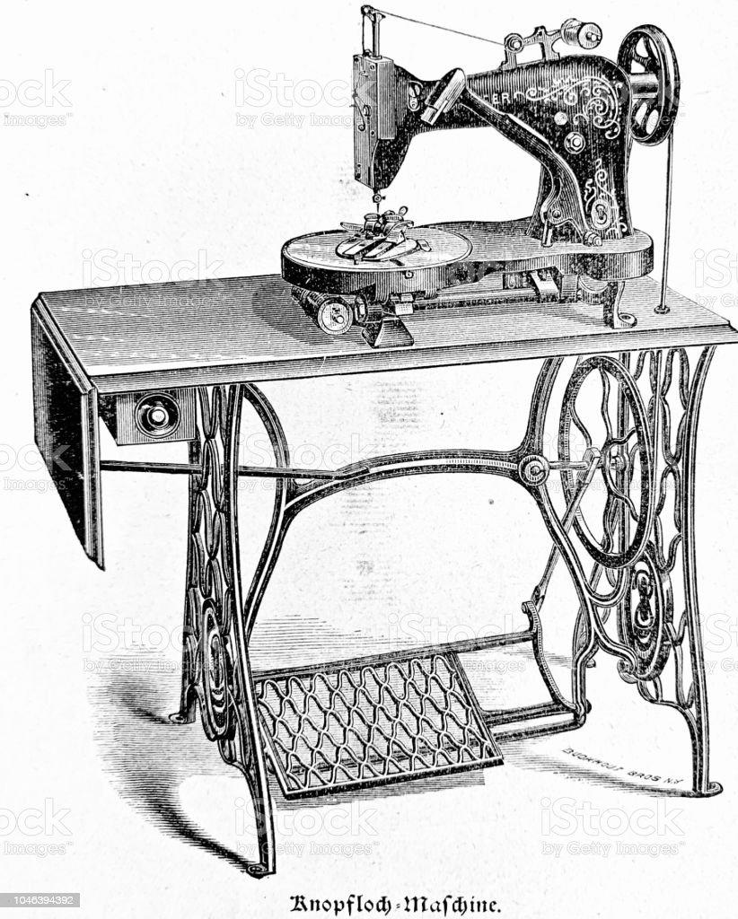 Ilustración de Máquina De Coser De Singer Modelo Ojal y más banco de ...
