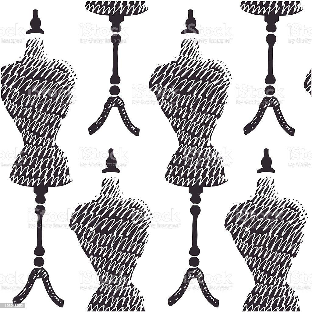 Sewing mannequin background vector art illustration
