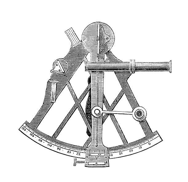 ilustrações de stock, clip art, desenhos animados e ícones de sextante científica desenho de navegação - sextante