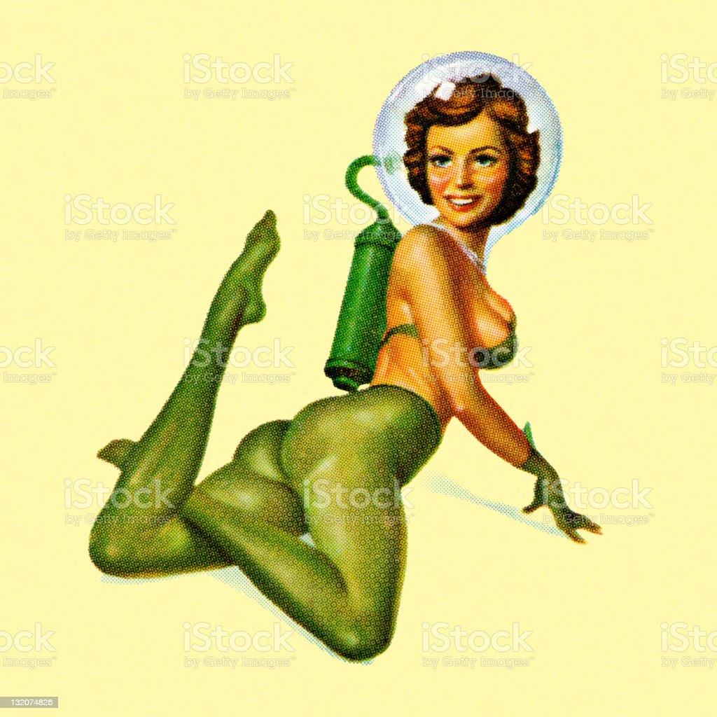 Sexy Astronaut Lady vector art illustration