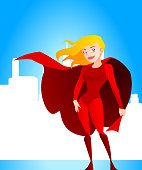 """Sexy Blonde Superhero woman standing confident with the city behind her, can be used separately from the background. With red superhero costume and red hero cape vector illustration."""