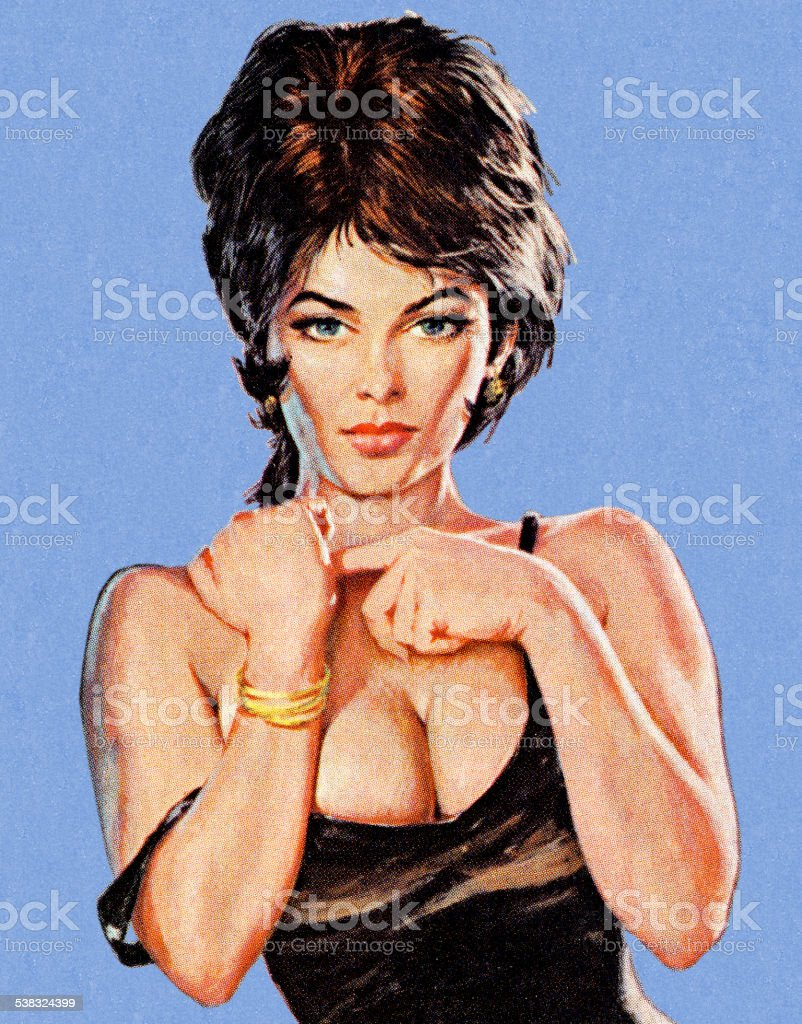 Sexy Brunette Woman vector art illustration