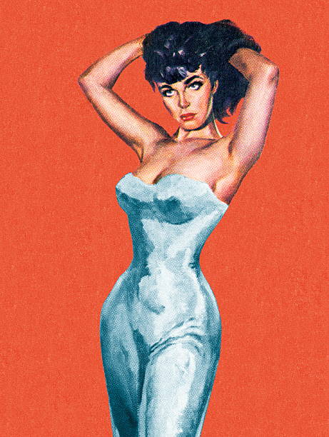 Sexy Dark Haired Woman Sexy Dark Haired Woman pin up girl stock illustrations