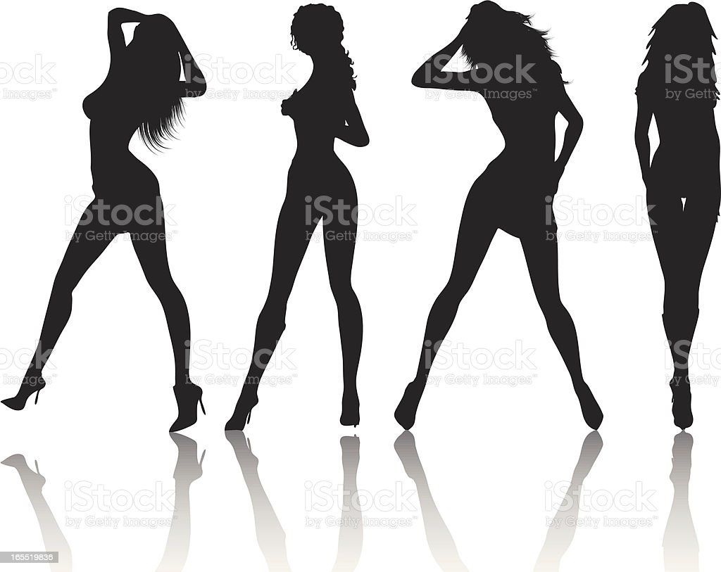 Sexy females vector art illustration