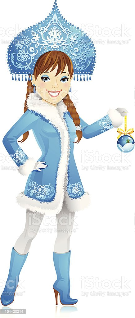 Sexy winter girl in a gorgeous costume royalty-free stock vector art