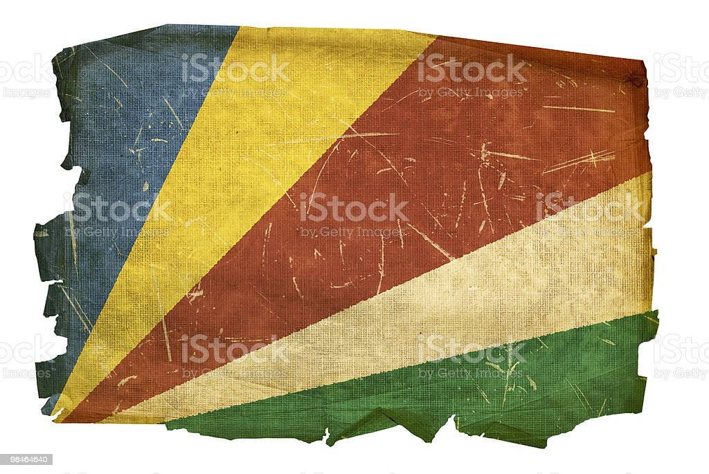 Seychelles Flag old, isolated on white background. royalty-free seychelles flag old isolated on white background stock vector art & more images of aging process