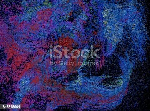 istock Sfondo astratto con colori acrilici blu, rosso e viola su sfondo nero 846818904