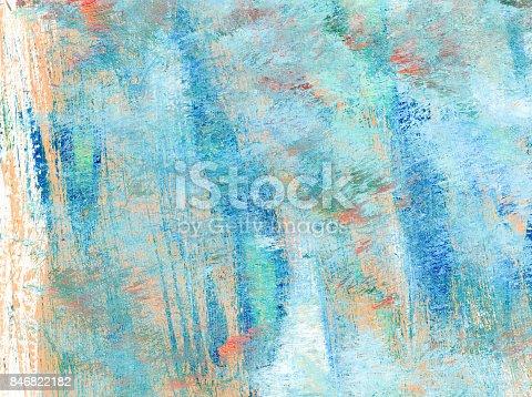 istock Sfondo astratto con colori acrilici rosa salmone e azzurro su sfondo bianco 846822182