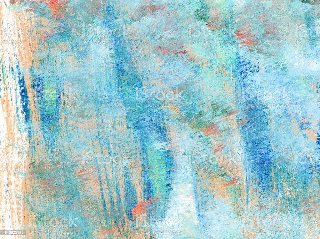 Sfondo astratto con colori acrilici rosa salmone e azzurro su sfondo bianco vector art illustration