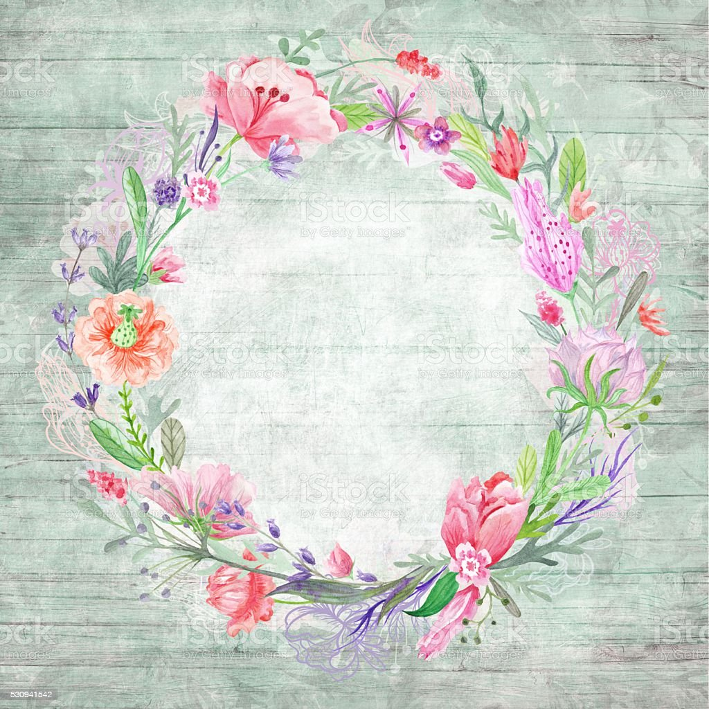 Shabby Chic Background with Floral Wreath vector art illustration