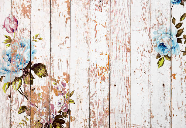 Shabby chic roses on wooden texture Shabby chic vintage roses on white grunge wooden texture, authentic chintz floral background shabby chic stock illustrations