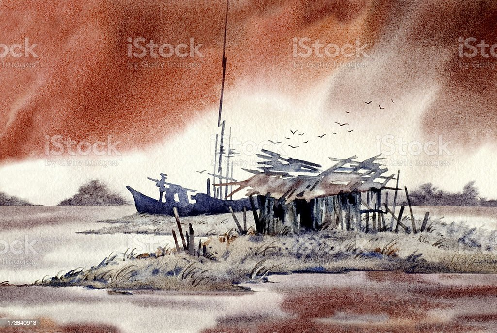 Shack With Red Sky vector art illustration