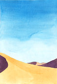 shadow on the sand dunes. Watercolor hand painting illustration.