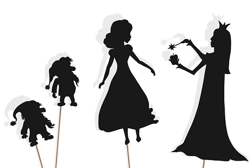 Shadow puppets of Snow White, dwarfs and Evil Queen, isolated.