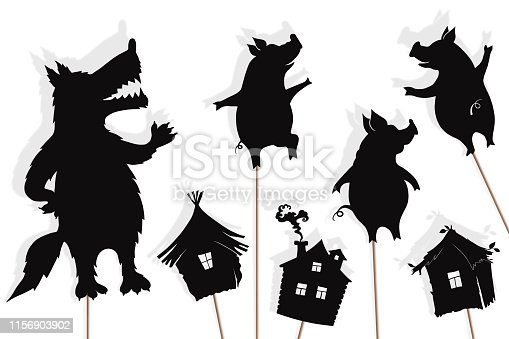 Shadow puppets of three little pigs, their houses and Big Bad Wolf, isolated on white background.