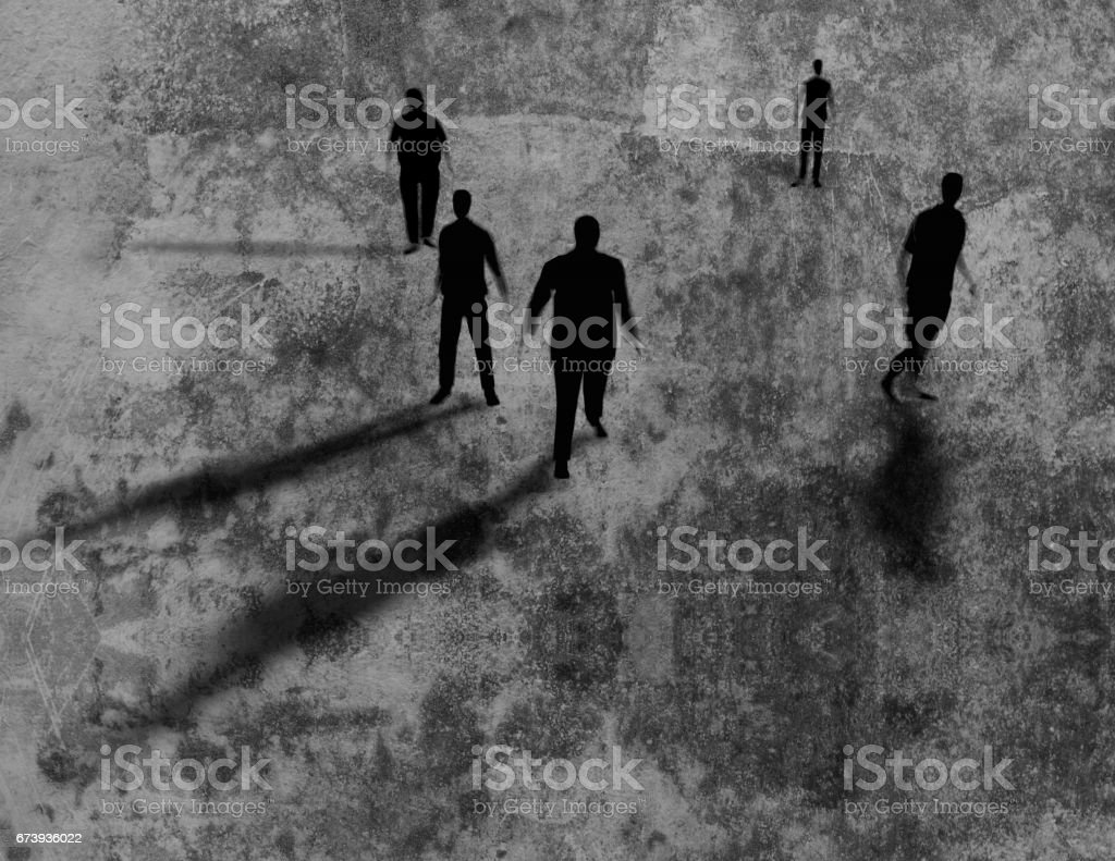 Shadows of men on grungy texture 3d rendring. vector art illustration