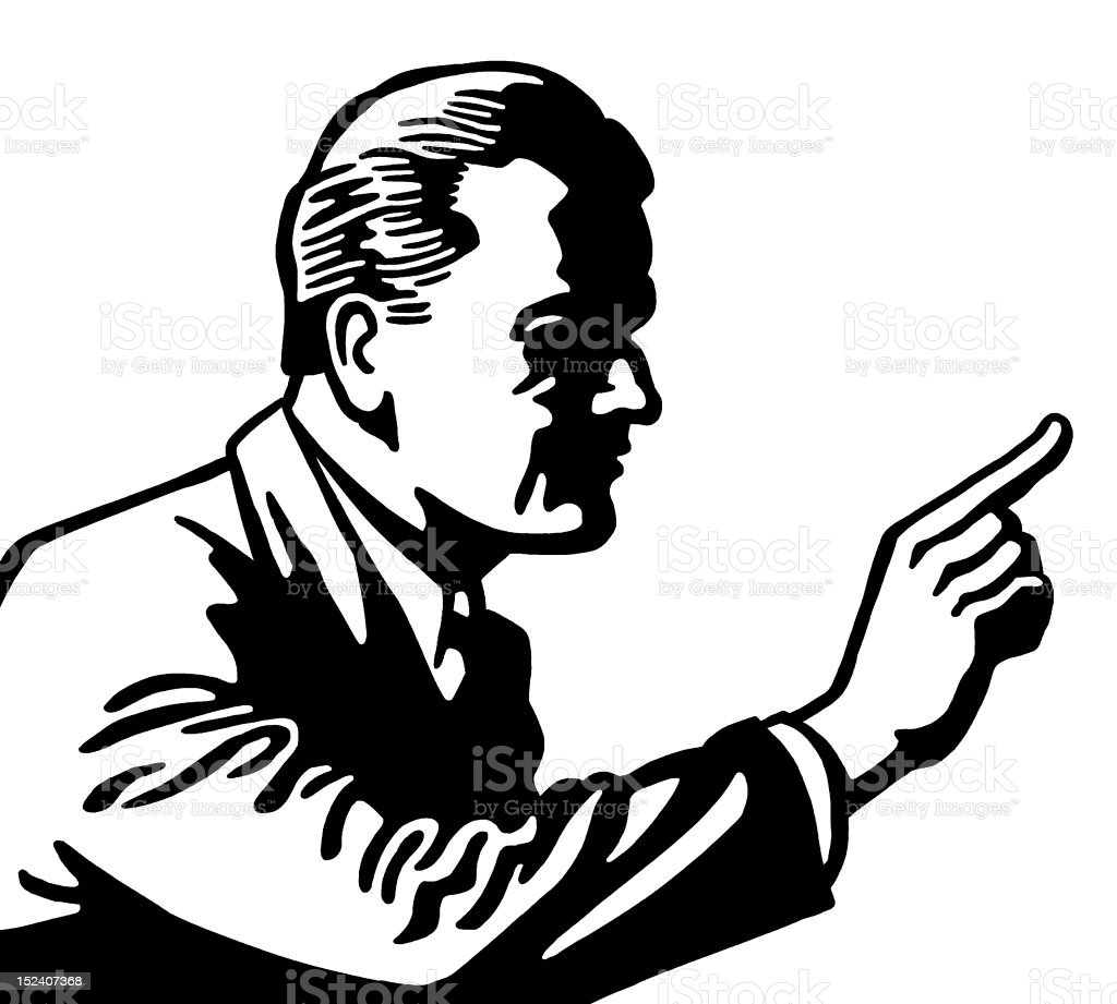 Shadowy Man Pointing royalty-free stock vector art